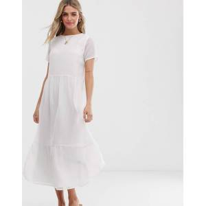 Pieces textured smock maxi dress-White  - White - Size: Large