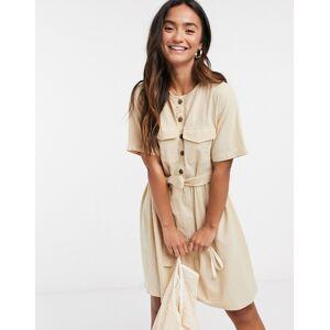 Pieces tie waist button detail mini dress with short sleeves in beige  - Beige - Size: Medium