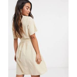 Pieces tie waist button detail mini dress with short sleeves in beige  - Beige - Size: Extra Large