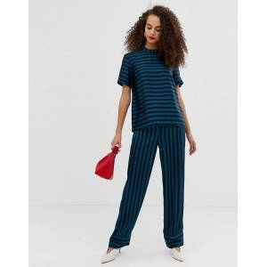 Pieces Tika stripe wide leg trousers-Navy  - Navy - Size: Extra Small