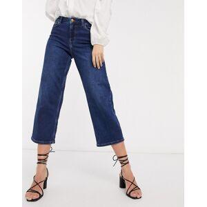 Pieces wide leg cropped jeans in dark blue denim  - Blue - Size: Medium