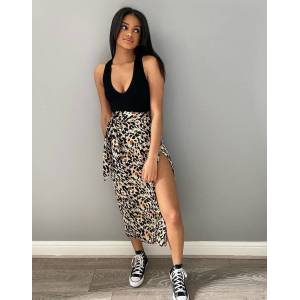 Pieces wrap skirt in mixed animal print-Multi  - Multi - Size: Extra Large
