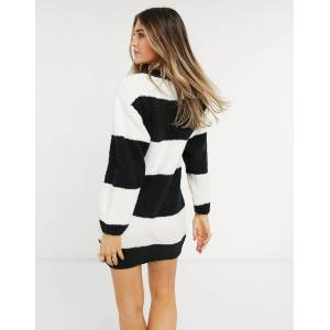 Pimkie striped sweater dress in black and white-Multi  - Multi - Size: Large
