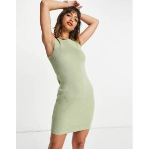 Pretty Lavish Billie rib knit mini dress in pastel green  - Green - Size: Large