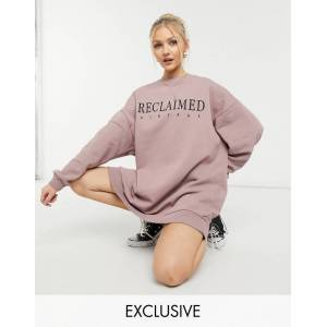 Reclaimed Vintage inspired logo sweat dress in mauve-Grey  - Grey - Size: Large
