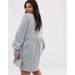 Rokoko Plus oversized smock sweat dress-Grey  - Grey - Size: 18