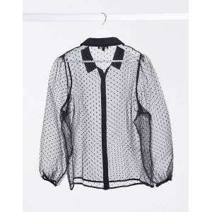 Simply Be dobby mesh shirt in black  - Black - Size: 24