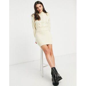 Skylar Rose cable knit high neck jumper dress-Cream  - Cream - Size: Medium