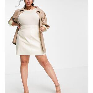Skylar Rose Plus mini skirt in faux leather-Cream  - Cream - Size: 18