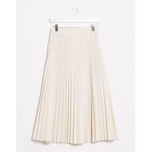 Stradivarius faux leather pleated skirt with front buttons in ecru-White  - White - Size: Large
