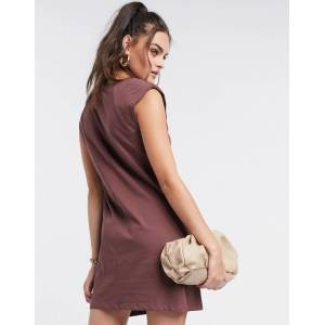 Stradivarius padded shoulder dress in brown  - Brown - Size: Large