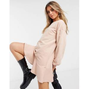 Style Cheat long sleeve peplum sweater dress in blush-Pink  - Pink - Size: Large