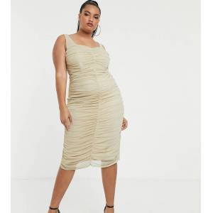TFNC Plus shimmer mesh ruched midi dress in light gold  - Gold - Size: 24