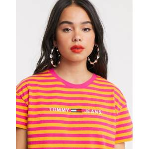 Tommy Jeans corp logo stripe t-shirt-Pink  - 26006023777 - Size: Extra Small