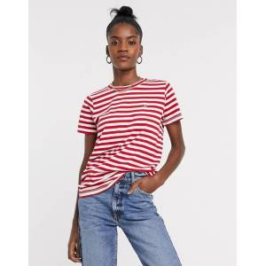 Tommy Jeans textured stripe t-shirt in red  - Red - Size: Large