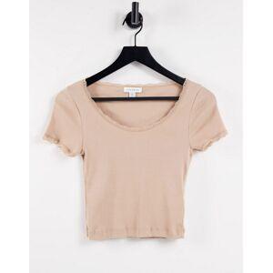 Topshop lace trim scoop t-shirt in camel-Neutral  - Neutral - Size: 18