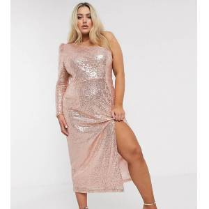 UNIQUE21 Hero Unique 21 sequin one sleeve dress in rose gold  - Gold - Size: 24