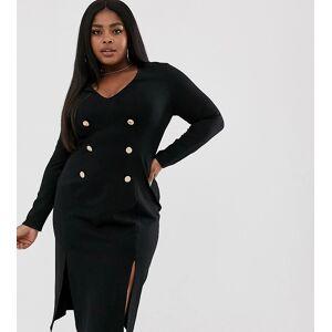 Unique21 Hero gold button premium ponte dress-Black  - Black - Size: 24