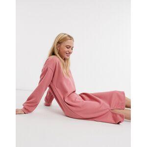 Urban Threads midi sweater dress with split in dusky pink  - Pink - Size: 10