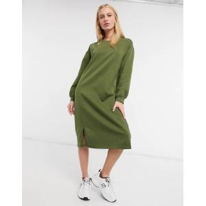 Urban Threads midi sweater dress with split in khaki-Green  - Green - Size: 10