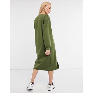 Urban Threads midi sweater dress with split in khaki-Green  - Green - Size: 8
