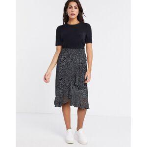 Vero Moda 2-in1 midi dress with sheer skirt in black  - Black - Size: Large