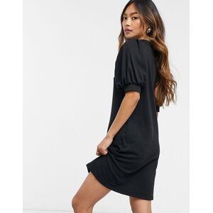 Vero Moda mini sweat dress with puff sleeve in black  - Black - Size: Large