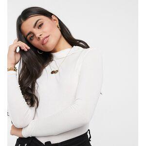 Vero Moda Petite high neck top in cream-Black  - Black - Size: Medium