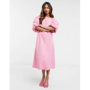 Vero Moda poplin midi dress with puff sleeves in pink  - Pink - Size: Large