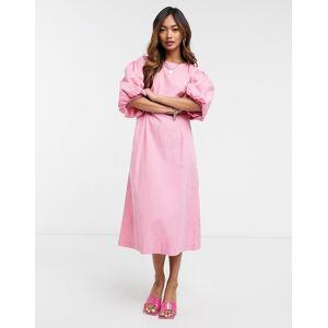 Vero Moda poplin midi dress with puff sleeves in pink  - Pink - Size: 2X-Large