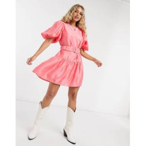 Vero Moda puff sleeve belted smock dress in pink  - Pink - Size: Large