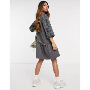 Vero Moda smock sweat dress in charcoal grey-Cream  - Cream - Size: 2X-Large