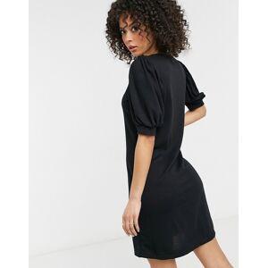 Vero Moda Tall mini sweat dress with puff sleeve in black  - Black - Size: Large
