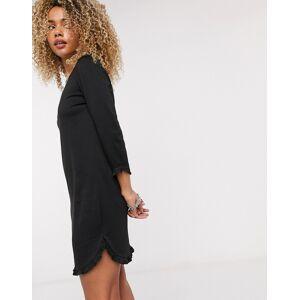 Vila jersey frill dress in black  - Black - Size: Large