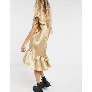 Vila satin smock dress in camel-Tan  - Tan - Size: Large