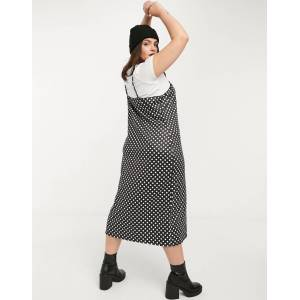 Wednesday's Girl Curve midi cami dress with t-shirt inner layer in polka dot-Black  - Black - Size: 18