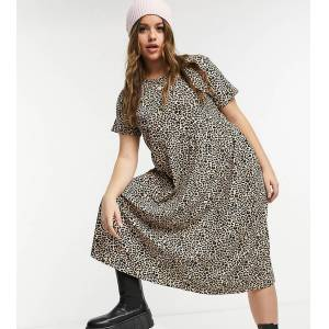 Wednesday's Girl Curve midi smock dress in leopard print-Brown  - Brown - Size: 24