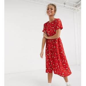 Wednesday's Girl midi smock dress in ditsy floral-Red  - Red - Size: Large