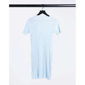 Weekday Elaine recycled plisse lettuce hem mini dress in light blue  - Blue - Size: Large