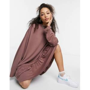Weekday Erina mini smock dress with peplum hem in mocha-Brown  - Brown - Size: Large