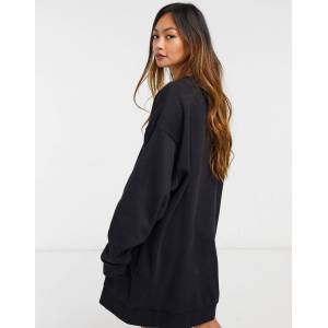 Weekday Liza mini sweat dress in black  - Black - Size: Large