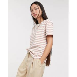 Weekday striped round neck tee in pink and white-Multi  - 25822224215 - Size: Extra Small