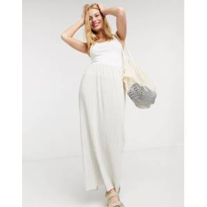 Weekday Wass thin pleat maxi skirt in cream  - Cream - Size: Large