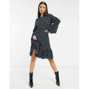 Y.A.S. Jamila fluted sleeve midi dress in ditsy print-Black  - Black - Size: Large