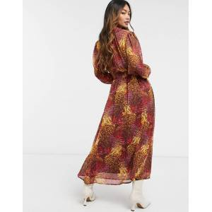 Y.A.S midi chiffon dress in rust floral-Multi  - Multi - Size: Small
