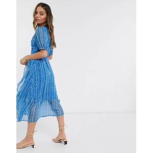 Y.A.S Petite wrap chiffon dress with drop hem in blue ditsy floral-Multi  - Multi - Size: Large