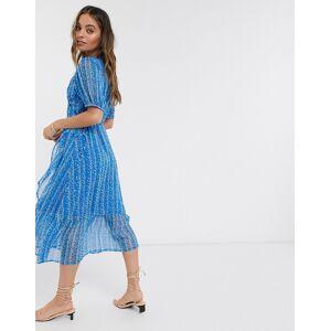 Y.A.S Petite wrap chiffon dress with drop hem in blue ditsy floral-Multi  - Multi - Size: Medium