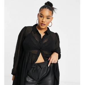 Yours dobby mesh shirt with peplum hem in black  - Black - Size: 24
