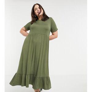 Yours mini smock dress in khaki-Green  - Green - Size: 18
