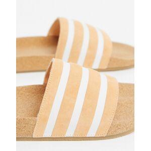 adidas Originals cork adilette sliders in orange-Blue  - Blue - Size: 3